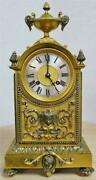 Antique 19thc French 8 Day Bell Striking Bronze And Silvered Ornate Mantel Clock