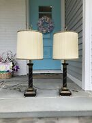 Paul Hanson Wood And Hand Chased Brass Lamps And Original Shades Estate Find
