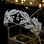 6cm Height Luxury Crown Tiara With Hanging Sparkling Pendant Women Hair Jewelry
