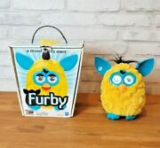 2012 Hasbro Furby Yellow And Blue Talking Interactive Electronic Box Works