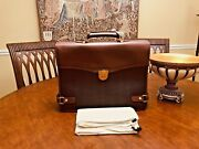 Dunhill Of London Authentic Thick Leather / Coated Canvas Briefcase / Attache