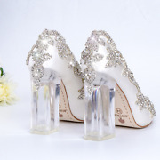 2021 Wedding Shoes Bridal Transparent High Heels Crystal Pumps Christmas Party