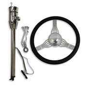 30 Tilt Auto Chrome Steering Column And 14 Wheel Built-in Adapter And Horn Button