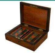 Rare Antique Whist And Playing Card Set In Walnut Box Circa 1880
