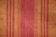 Antique French Striped Furnishing Fabric Early 19th Century Red Orange Curtain