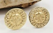 Sun Face Clip Round Earrings In14kt Yellow Gold Vintage -omega Clip