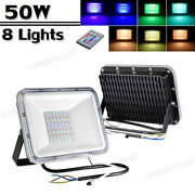 8x Led Rgb Flood Light 50w Outdoor Lighting Color Chang Lights W/remote Control