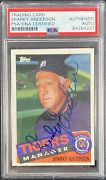 Sparky Anderson Auto Signed Card Topps 307 1985 Detroit Tigers Psa Encapsulated