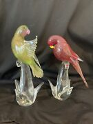 Vintage Set Formia Murano Glass Limited Edition Collection Exotic Birds Couple
