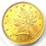 1907 Liberty Gold Eagle 10 - Certified Pcgs Ms62 Bu Unc - Rare Coin
