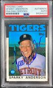 Sparky Anderson Auto Signed Card Topps 411 1986 Detroit Tigers Psa Encapsulated