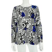 Christopher And Banks Petite Black White Blue Floral Stripe Long Sleeve Top Sz M