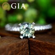 Gia Certified Natural Unheated Green Sapphire Diamond 18k White Gold Ring Round