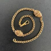 Victorian Etruscan Revival 14k Gold Pocket Watch Fob Chain Layering Necklace