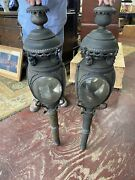 Horse Drawn Carriage Lights Oil Burning Original 42andrdquo Tall Set Of Two Brass