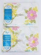 2 Pacific Miracle White Floral Vintage 70s Standard Double Flat Bed Sheets