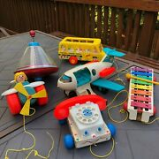 Vintage Fisher Price Big Lot Pull Toys And Others Usa Made 1960and039s To 1980and039s Great