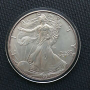 1997 1 American Silver Eagle Coin Solid Ring Of Sweet Copper Edge Toning