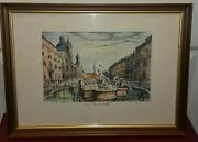 Lovely De Carly Hand Colored Print Roma Piazza Navona 15x11