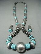 Signed Very Long Tubule Sterling Silver Turquoise Necklace