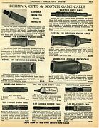 1960 Print Ad Of Olt Lohman And Scotch Game Calls Duck Crow Deer Fox Coon Goose