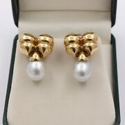 Vintage 18k Gold 13mm South Sea Pearl Drop Bow Shaped Earrings Bridal Clips