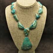 Bold And Beautiful Southwestern Sterling Silver And Green Turquoise Necklace