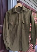 Vintage 1940's Wwii Us Army Military Officer's Wool Uniform Dress Shirt.