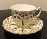 Aynsley Bone China Green Gold White Tea Cup And Saucer England - Rare