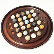 Vintage Marbles Game - Solitaire Board Game Rosewood With 28 Marble Stone Balls