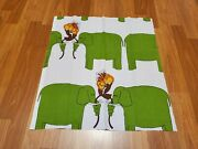 Awesome Rare Vintage Mid Century Retro 70s 60s Cute Green Elephants Fabric Wow