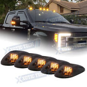 5x Smoked Amber Led Roof Lamp Rooftop Driving Lights For Ford F-150 F-250 F-350