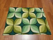 Awesome Rare Vintage Mid Century Retro 70s 60s Unique Green Op Art Star Fabric