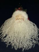 Vintage Santa Claus Christmas Ornament Red Stocking Hat