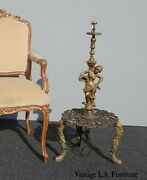 Vintage French Provincial Cast Iron Gold Women Statue Floor Lamp As-is