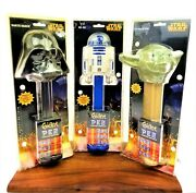 Lot 3 Star Wars Giant Pez Dispensers Yoda Darth Vader R2d2 Musical Collectible