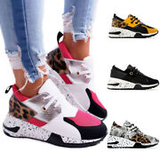 Womenand039s Leopard Animal Wedge Trainers Sneakers Lace Up Jogger Jogging Shoes Size