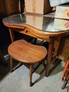 Vintage Wood Skirted Kidney Vanity Dressing Table With Bench