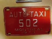 Canada Taxi License Plate 1973 Twin Tours To Montreal Cca Rare Collector