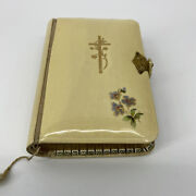 Celluloid Antique Prayer Book German Catholics Golden Pages With Latch Flowers