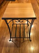 Longaberger Wrought Iron Side / End Table W/ Woodcrafts Top