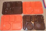 Vintage Lot Of 8 Green Silite Si Lite 614 Divided Lunch Trays Cafeteria Camping