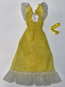 Vintage Barbie 7211 Yellow Swiss Dot Dress And Yellow Japan Square Toe Shoes 👀