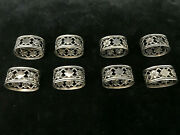 8 Beautiful Massive Napkin Rings 800 Silver With Blossoms