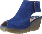 Womens Fly London Yone Peep Toe Suede Holiday Shoes Summer Wedge Heels