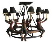 Vintage Bill Huebbe 6 Seated Monkey Chandelier With Shades, Signed And Dated