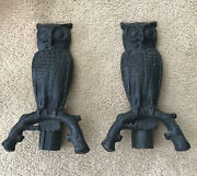 """Pair Of Vintage Cast Iron Owl Andirons 11"""""""