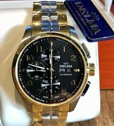 Delma Klondike Classic Chronometer Automatic Watch Black And Gold - Top Drawer