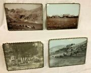 Four Antique Photographs Of Old West Us Glass-mounted, Crazy Mtns Montana And More
