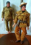 Vintage Marx/gabriel The Lone Ranger And Tonto Indian Action Figures Loose 10in